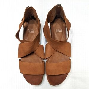 Eileen Fisher Leather Zip Sport Sneaker Sandal 10